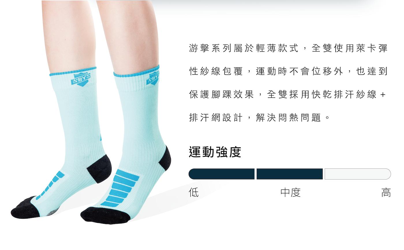 全襪加壓,適合中高強度運動使用