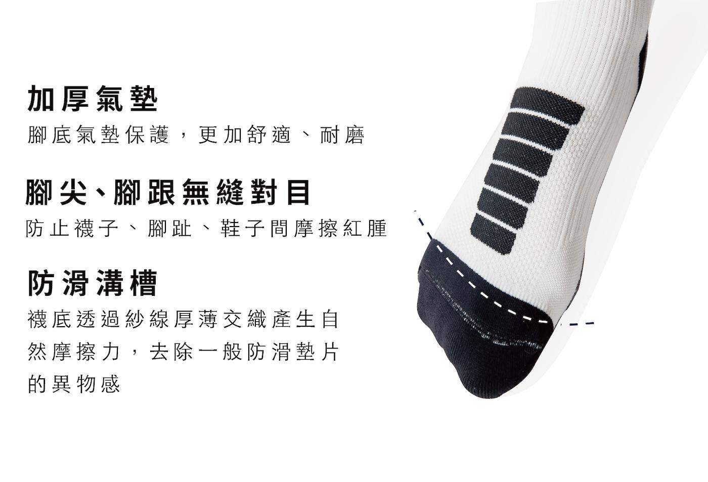 透氣排氣孔、整雙襪子都具有消臭抗菌、吸濕排汗機能